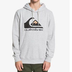 NEW QUIKSILVER HEATHER GREY COMP MEN'S HOODIE L